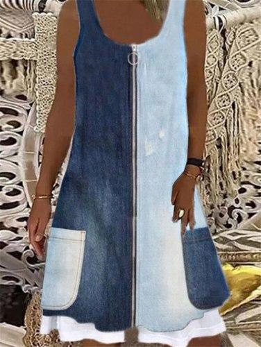 Floral Print Women Slim Fit Mini Dress Summer Sexy Sleeveless Round Neck Denim Style Casual Large Size 3XL Loose Dress Vestido