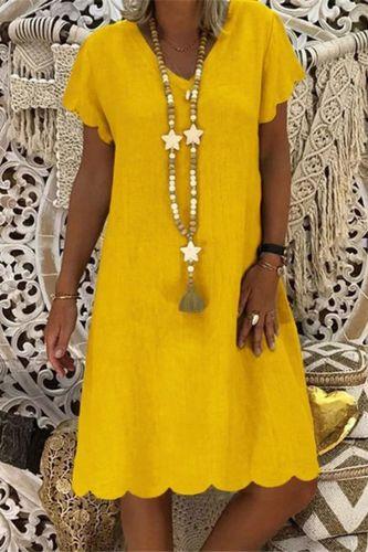 S-5XL Plus Size Dress Summer Women Vintage Solid Short Sleeve Midi Dress Retro big size Loose Beach Casual Dresses vestidos