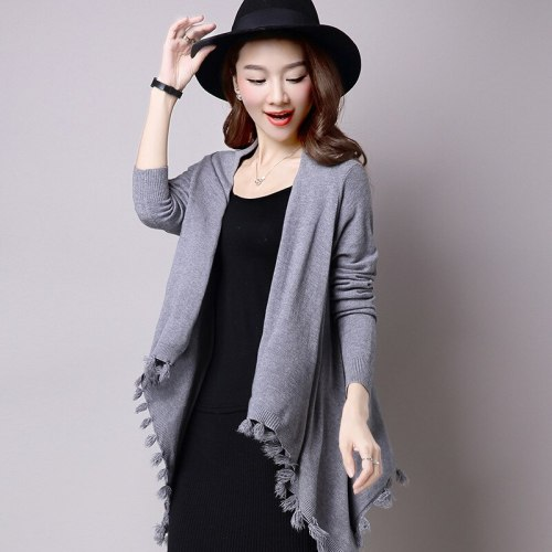 New Spring Autumn Women Irregular Knit Cardigan Jackets Casual Loose Sweater Tassel Shawl Coat Female z701