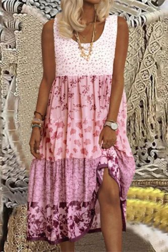 Women's Summer Sling Solid Color Dress U-neck Pink Cotton Dress Loose Casual Mid-length  Strawberry Dress  Vestido De Mujer