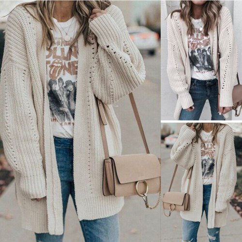 Women sweater jacket New Autumn/winter HOT Long Sleeve Button Sweater Women Casual Solid Long Women Cardigan