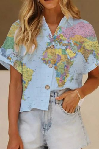 Blusa Vintage Leaves Printed Harajuku Blouse Women's Casual Button Holiday Beach Shirt Elegant Office Lady Turn-down Collar Tops