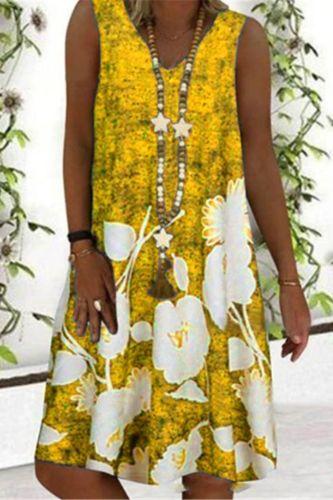 2021 Summer Print Casual Midi Dress Women's V-neck Sleeveless Off Shoulder Dresses For Women Plus Size Beach Boho Dress Femme
