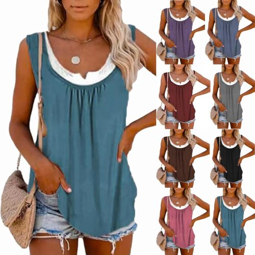 Summer Solid Color Stitching Sleeveless Pleated Vest Round Crew Casual Loose Plus Size Tank Top Vintage  T-shirt Femmes