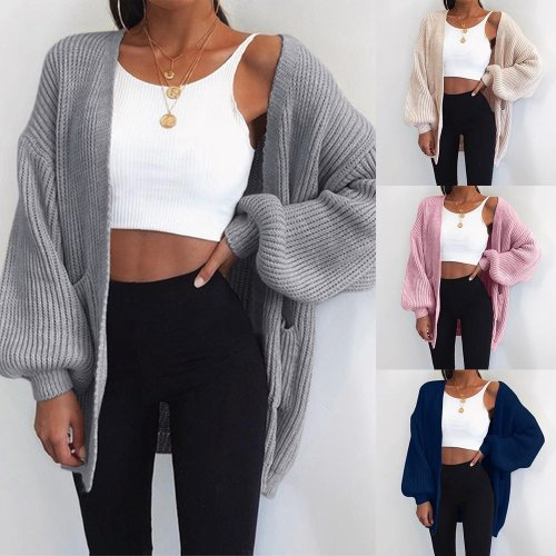 2021 New Loose Knitted Cardigan Sweater For Women Open Stitch Long Sleeve Autumn Spring Coat Solid Casual Cardigan Oversize Coat