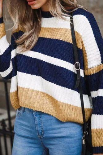 2018 New Fashion Hot Popular Women Long Sleeve Loose Striped Knitted Sweater Jumper Knitwear Outwear Sweater