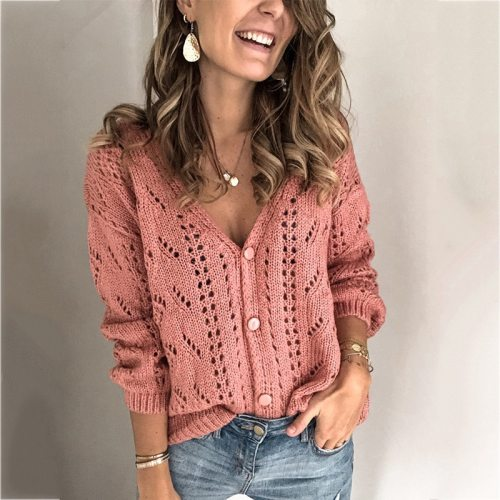 Europe and America  Cardigan Ladies Solid Color Hollow V-neck Sweaters Women Spring Autumn Casual Streetwear Knit Top