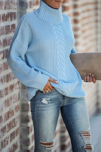 Ladies Turtleneck Sweater Pulls Femme Automne Hiver European and American Fashion Sexy Loose Autumn/Winter Knitted Pullover