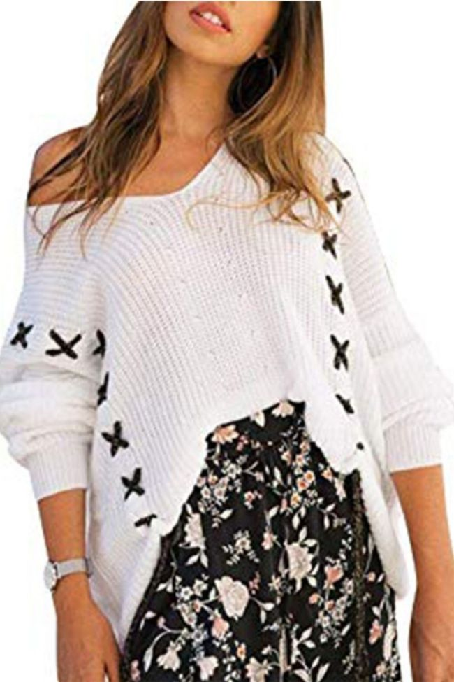 Autumn Winter White Loose Lace Up Sweater For Women Casual Long Sleeve One Shoulder Jumper Clothes Knitting Pullover Sweaters