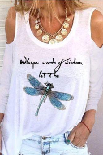 Fashion Print Tee women dragonfly Long sleeves T-shirt 2020 New Fall Oversize T-shirt Fashionable Street Women's white black Top