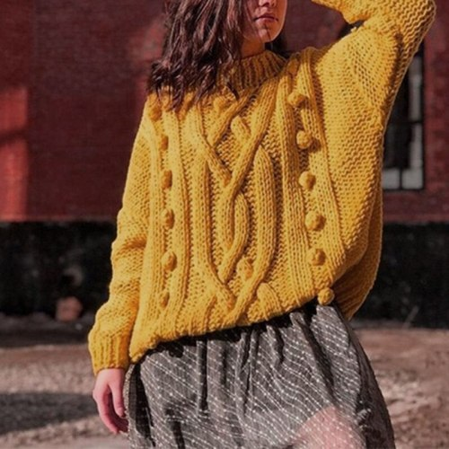 Women Jumper Oversized Sweaters Pullovers Autumn Winter Warm Thick Turtleneck Vintage Solid Harajuku Knitted Casual Female Tops
