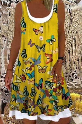 Women New Casual Splice Fake Two O-Neck Sleeveless Print Cotton Loose Large Size 3XL Mid Dress Female Vestidos For Summer 2021