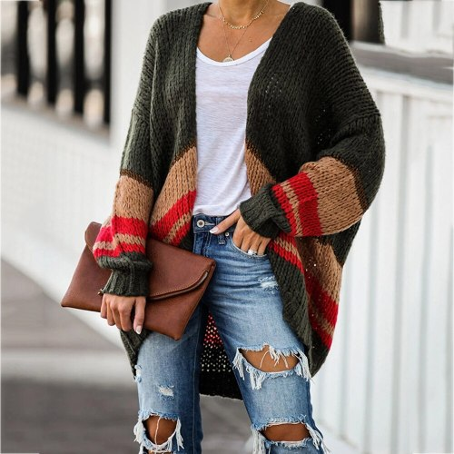 Winter Warm Fashion Women Striped Patchwork Batwing Sleeve Sweaters Knitted Cardigans Outwear Pull Femme Tops
