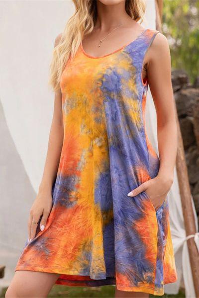 2021 Summer Women's Sleeveless Round Neck Pocket Tie Dye Printed Vest Camisole Dress Casual Loose Beachwear A-Line Mini Dress