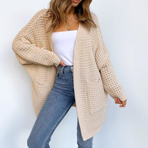 Women Loose Oversized Sweater Cardigan Solid Color Batwing Sleeve Buttonless Thick Long Knit Outerwear with Pocket