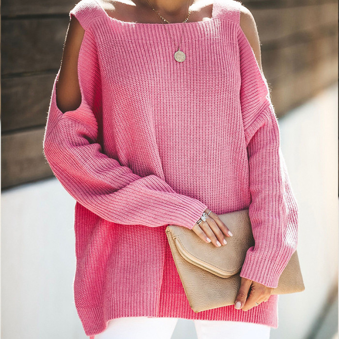 2021 European And American Fashion Sweater New Sling Long Sleeve fashion Loose Sweater Pink