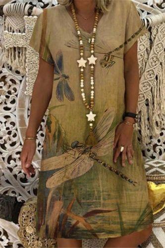 Women Summer Dress Fashion Print V-neck Short sleeve Loose Big Swing Casual Beach Dress 2021 Large Ladies Plus Size Dress#D3