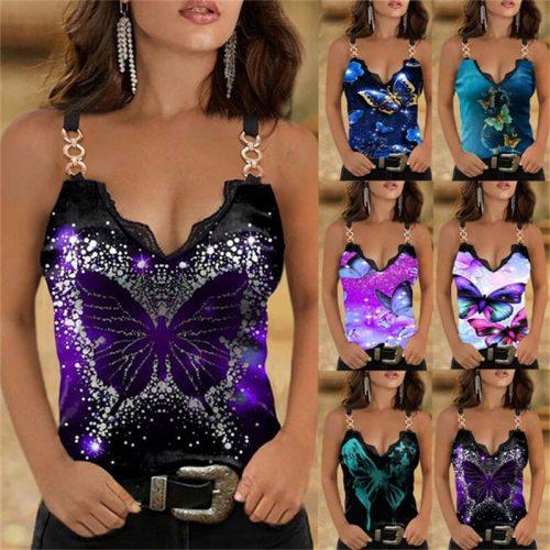 Summer V-neck Lace Print Strap Vest Fashion Slim Sleeveless T-shirt Vintage Sexy Tank Top Women Butterfly Print Tshirt