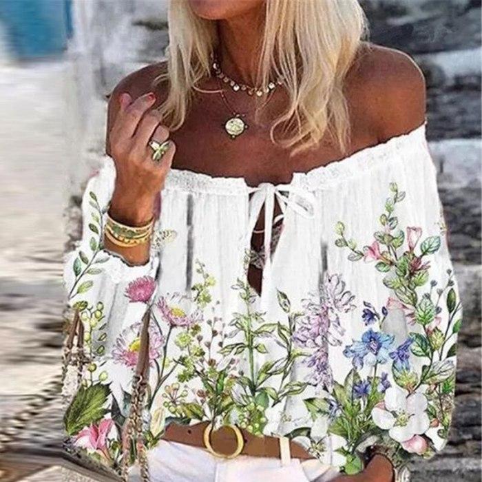 2021 Boho Blouse Elegant Floral Print Flare Sleeve Shirt Sexy Lace-up Tassel Off Shoulder Women Tops Spring Summer Chic Blouses