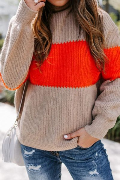Women Knitted Striped Sweater Winter Long Sleeve Patchwork Sweaters and Pullovers Loose Jumpers Tops Sueter Mujer Invierno