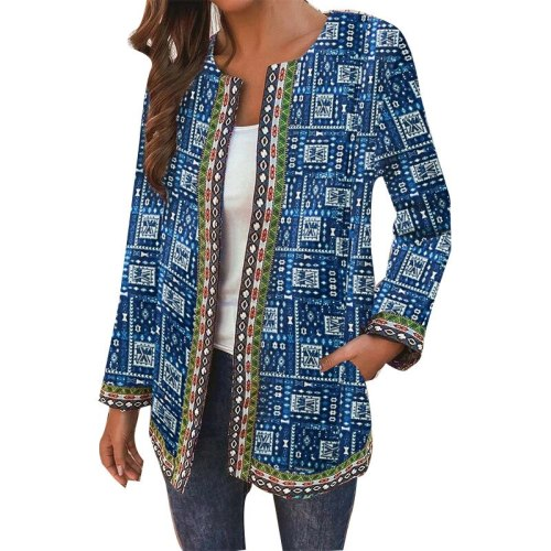 Autumn New Arrival Vintage Floral Print O Neck Women Casual Jacket Hot Sale Long Sleeve Pocket Loose Coat
