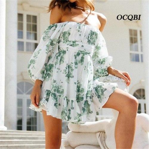 New Arrival Print Women Dress 2021 Summer Casual Slash Neck Lantern Sleeves Ruffles Dress
