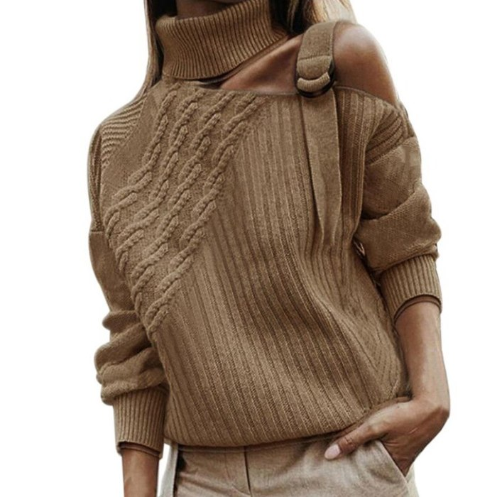 Leopard Turtleneck Sexy Off Shoulder Knitted Sweaters Women Long Sleeve Ribbed Pullover Oversized Fall Winter Jumper Plus Size