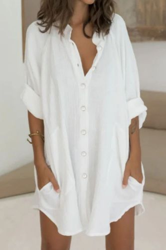Casual Women Cotton Linen Shirts Blouse Elegant 2021 Summer Loose Single Breasted Tops Ladies New Fashion Irregular Long Blouses