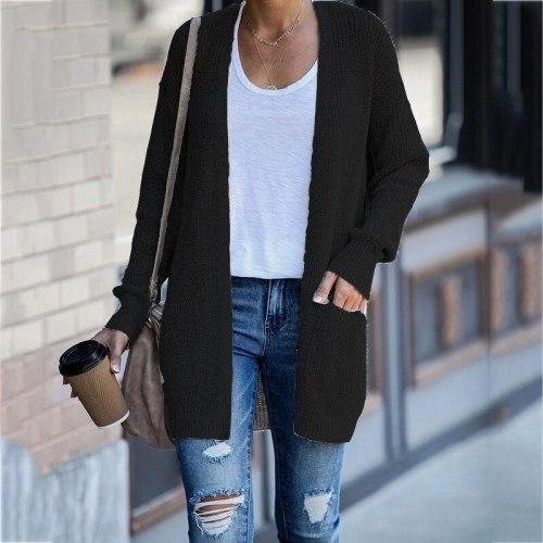 Plus Size Women Sweater 2021 Winter Cardigans Vintage Pockets Casual Winter Clothes Women
