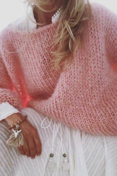 Women Lantern Long Sleeve Sweater Fluffy Mohair Chunky Knit Loose Jumper Tops