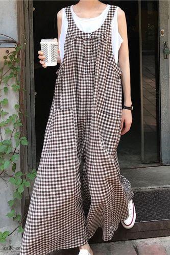 2021 Oversize Summer Jumpsuit Korean Street Style Women Overall Rompers Casual Loose Mori Girl Wide Leg Long Jumpsuit Kawaii