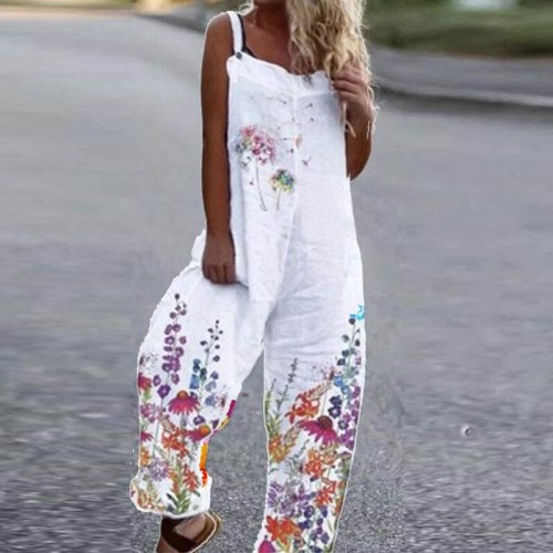 Women Fashion Off Shoulder Strappy Jumpsuits Elegant Daisy Floral Print Romper Overalls Sexy Harajuku Loose Long Pants Playsuits