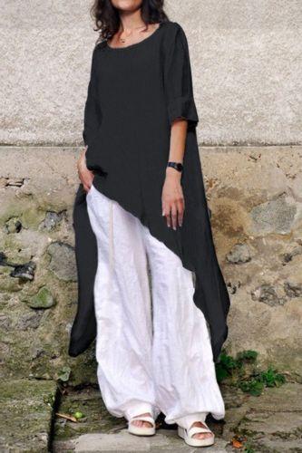 Women Casual Loose Long Blouses Celmia Cotton Linen Tops 2021 Summer Half Sleeve Asymmetric Shirts Solid Blusas Plus Size S-5XL