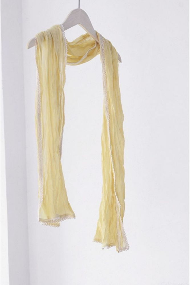1.5m Spring And Summer Decorative Small Scarf For Women, All-Match Thin And Long Lace Folds, Light And Thin Neck Scarf