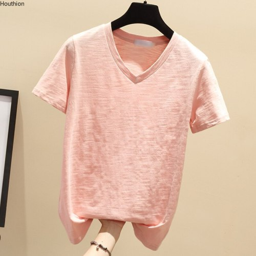 Women's T-shirt Fashion Top Solid Loose Cotton T Shirt New Korean V-neck Summer  Casual  Short Sleeve Tshirt