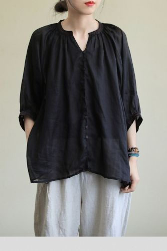 Oversized Cotton Linen Women Shirt New 2021 Summer Simple Style Solid Color Half Sleeve Female Loose Casual Tops Shirts P1400