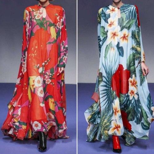 2021 autumn dress print casual temperament long sleeve loose long dress women
