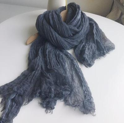 2021 New Arrival Lengthen Solid Color Cotton Linen Scarves Women Fringed Soft Long Scarf Lady Winter Warm Neckerchief Shawl Wrap