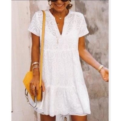 Summer beach hollow vacation dress Women short sleeve v neck A-line mini dress Solid white yellow red green blue sukienka
