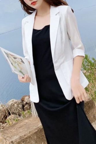 Linen small suit female coat thin section 2021 summer dress large size cotton and linen suit Slim casual seven-point sleeve women