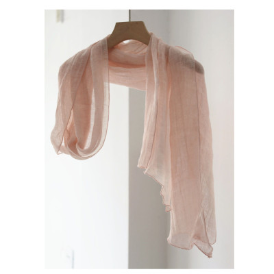 Summer Narrow And Slender Linen Scarf Women'S Thin Style Wild Pure Color Personality Beveled Edge Decoration Neck Long Silk Scarf