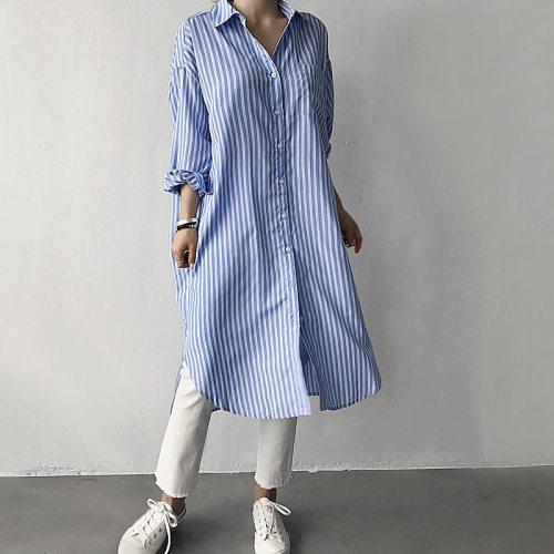 Women Shirt Dress Striped Print Long Robe Turn-Down Collar Dropped Shoulders Long Sleeve Pocket Side Slit Ladies Dress One-Piece
