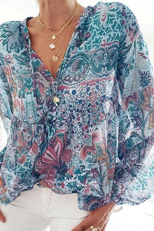 S-3XL 2021 Women Retro Bohemian Printed Shirt Lantern Sleeve Street Casual V-neck Tops tshirt women spring autumn Long sleeve F4