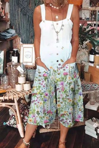 Women Casual Fashion Long Jumpsuit Square Collar Sling Sleeveless Print Floral Buttons Pockets Wide Leg Pants Cool Summer 2021