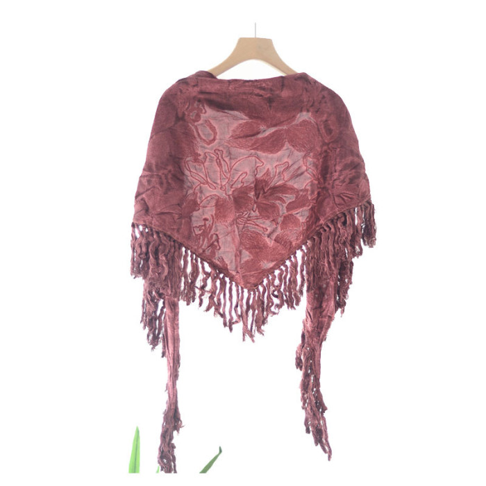 Retro Ethnic Triangle Scarf Fringed Scarf Female Autumn And Winter Warmth All-Match Dual-Use Floral Travel Sunscreen Shawl