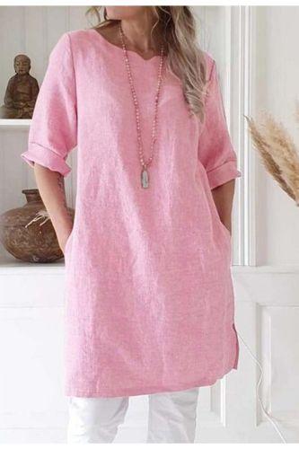 Elegant Women Dresses Casual Solid Half Sleeve Pocket Shirt Dress Women Clothes Loose Dress