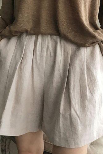 2021 Summer Plus Size Solid Color Elastic Waist Shorts Women Casual Wide Leg Pockets Loose Shorts Cotton Linen Shorts Streetwear