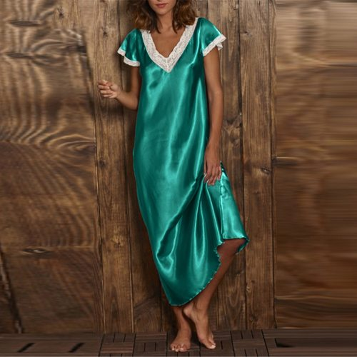Sleeping Dress Short Sleeve V Neck Homewear Womens Long Dress Nightgowns Loose Sleepwear Home Suit Nuisette Femme