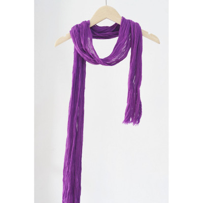 Spring and Autumn Decoration Small Scarf Women's Thin Narrow Long Strip Light Neck Protective Cotton Scarf Pleated Cotton Linen Long Scarf 220cm