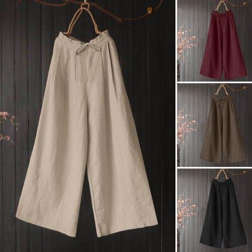 Retro Wide Leg Trouser Women Summer Pant Plus Size Elastic Waist Solid Long Pantalon Casual Loose Cotton Lace Up Palazzo